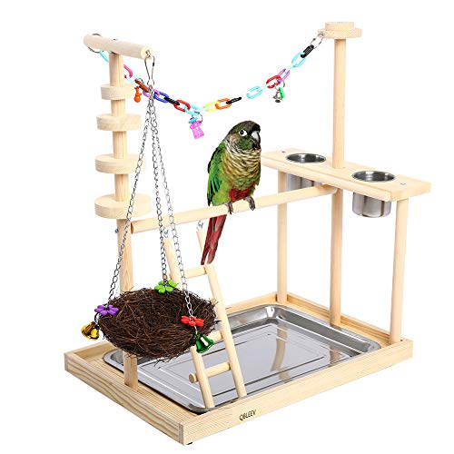 (QBLEEVB Bird Stands, Wooden Parrot Cockatiel Perches, Cage Table Top Playstand Playpen Play Gym Swing with Nest Ladder Feeder Cups Dishes for Concures Parakeets Lovebirds Parrotlet (19