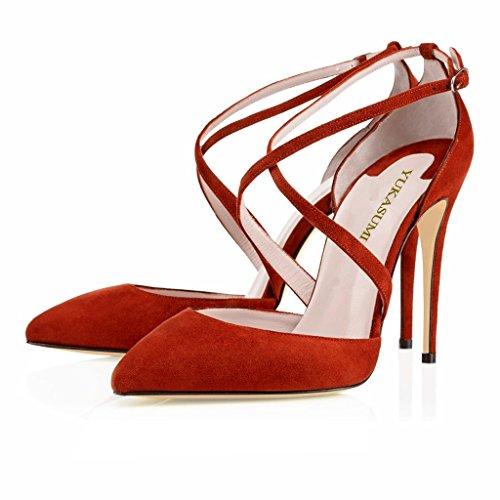 Kolnoo Womens Handmade Fashion Asaltaise Suede 100mm Cross-straps High Heel Pumps Court Shoes Dark-Red 4A5sSkY