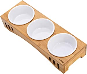 Petacc Elevated Dog Cat Bowls Raised Pet Bowls for Cats and Dogs, Dog Cat Food and Water Bowls Stand Feeder with 3 Melamine Bowls, 2 Usage Ways