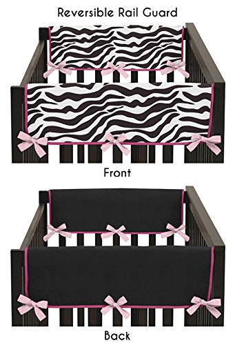 Sweet Jojo Designs Pink and Zebra Print Teething Protector Cover Wrap Baby Crib Side Rail Guards - Set of -