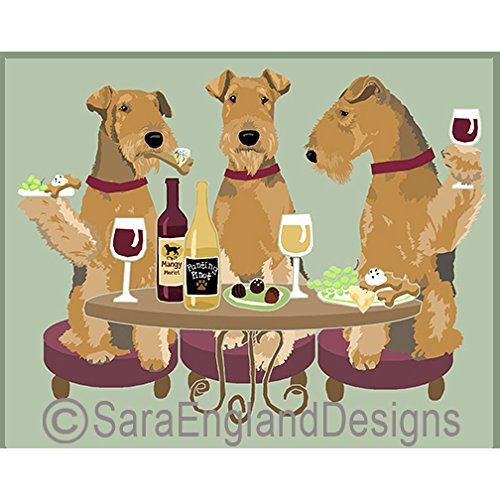 (Sara England Designs WINEing Airedale Terrier - 11x14 Matted Print)