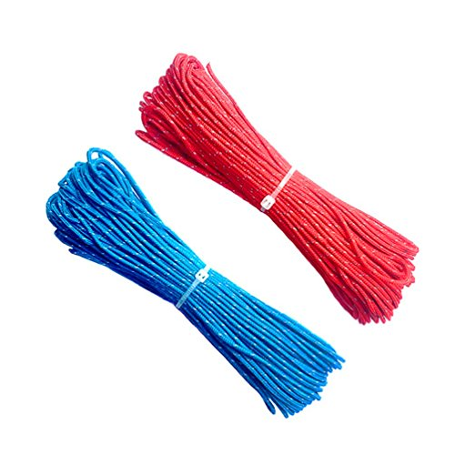 ThreeBulls 1.8mm Fluorescent Reflective Guyline Tent Rope Camping Cord Paracord (Blue,Red, 20m)