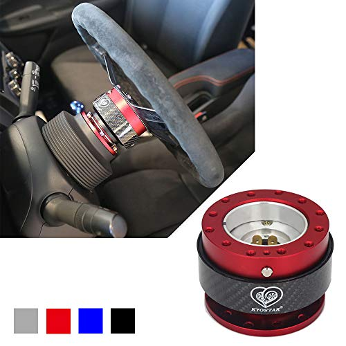 Kyostar Steering Wheel Quick Release Kit 100% Real Carbon Fiber Hub Adapter Snap Off Boos Kit(Red)