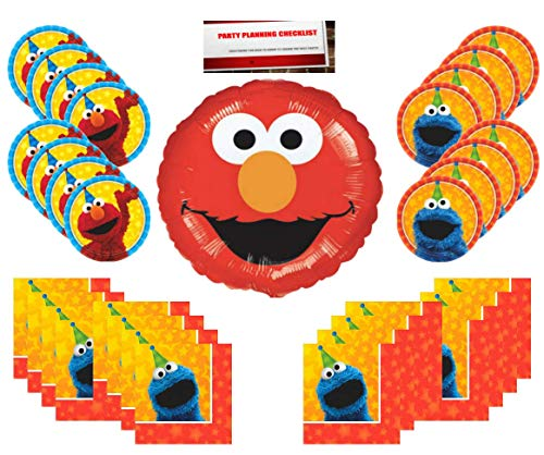 Sesame Street Birthday Party Supplies Bundle Pack 16 (Bonus 18 inch Elmo Balloon Plus Party Planning Checklist Mikes Super Store) -