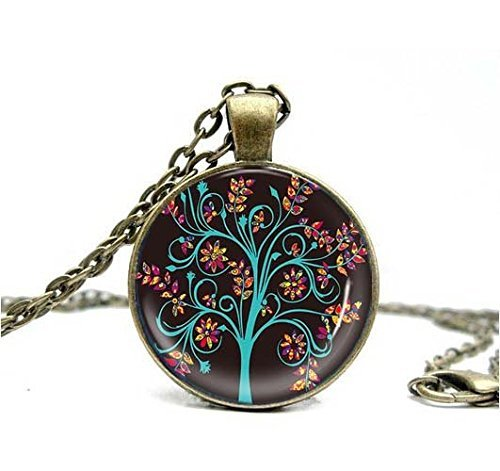Handmade Jewelry Tree of Life Vintage Ladies' Necklace 1pc Glass Cabochon Necklace Art Tree Pendant