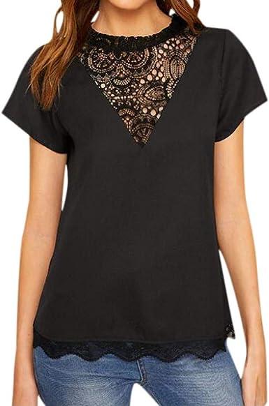 Camiseta Encaje de Mujer Camisetas, Moda Mujer Gasa Manga Corta Malla Perspectiva Top Verano con Cuello en O Camisa de T-Shirt Camiseta Elegantes Blouse Mujer Tops Camiseta tee Blouse Fiesta: Amazon.es: Ropa