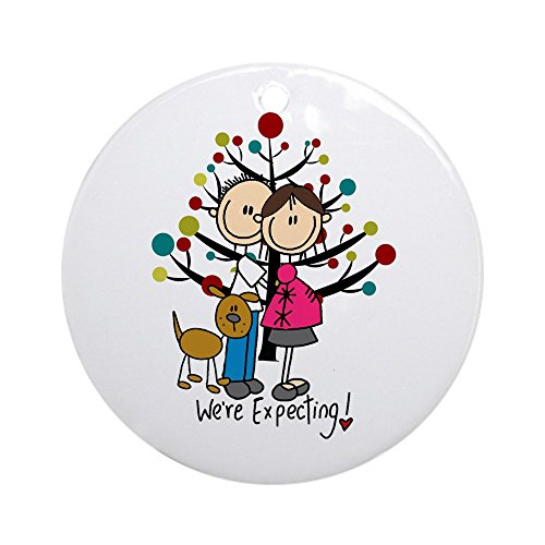 - CafePress Christmas Expectant Couple with Dog Round Holiday Christmas Ornament