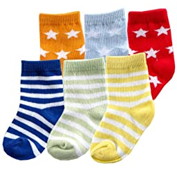 6pk Fun Stripe Combo Socks, Blue, 12-24 Months