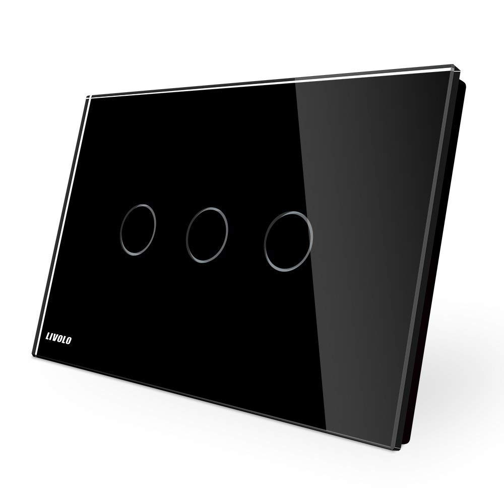 LIVOLO Black US Standard 3 Gang 1 Way Switch with Luxury Tempered Glass Panel LED Indicator AC 110-220V,-C903-12
