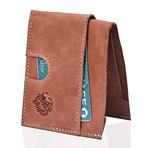 Louis Pelle Leather Minimalist Wallet RFID Blocking Bifold Slim Wallet ()