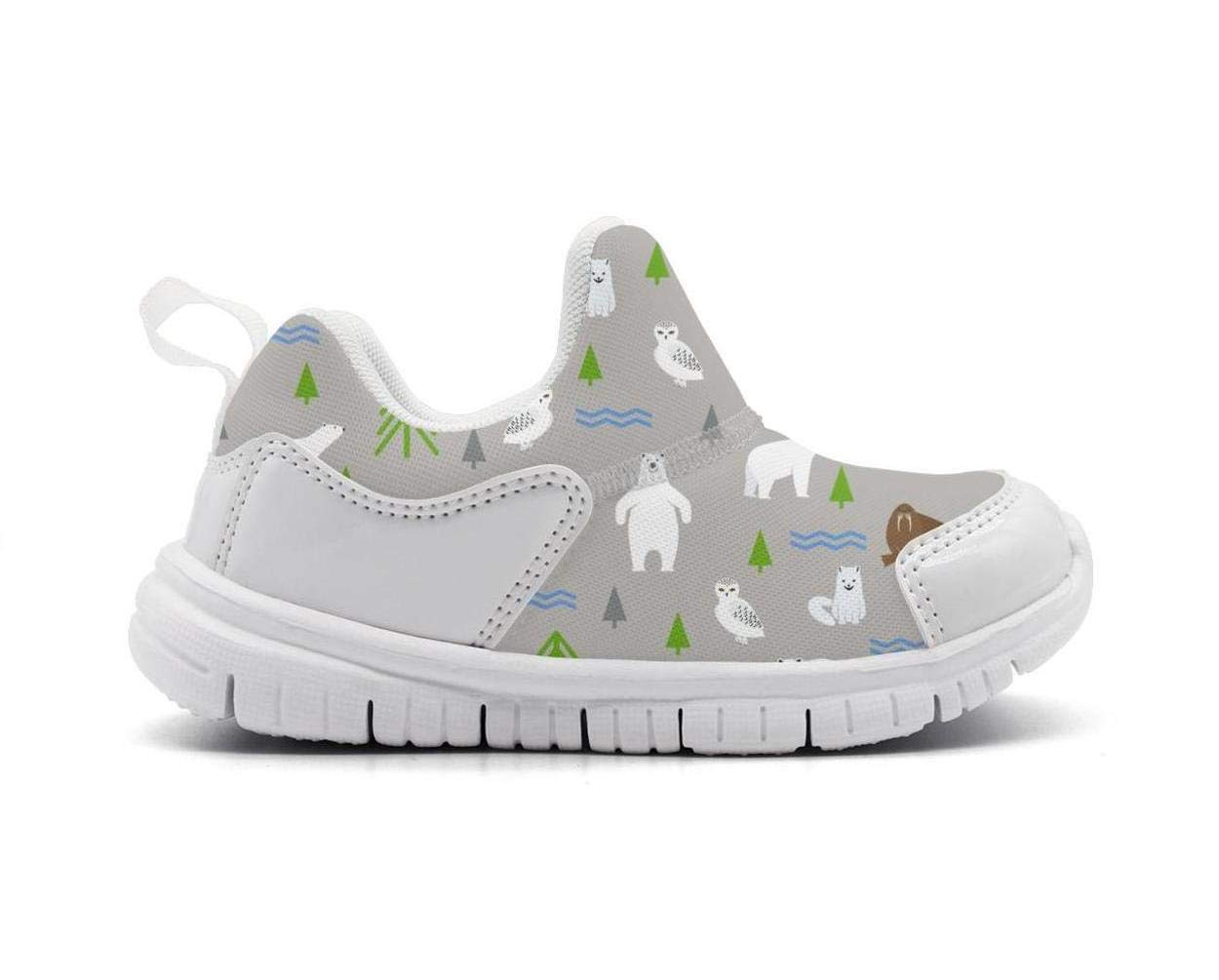 ONEYUAN Children Polar Bear and Seal Animal Gray Kid Casual Lightweight Sport Shoes Sneakers Running Shoes