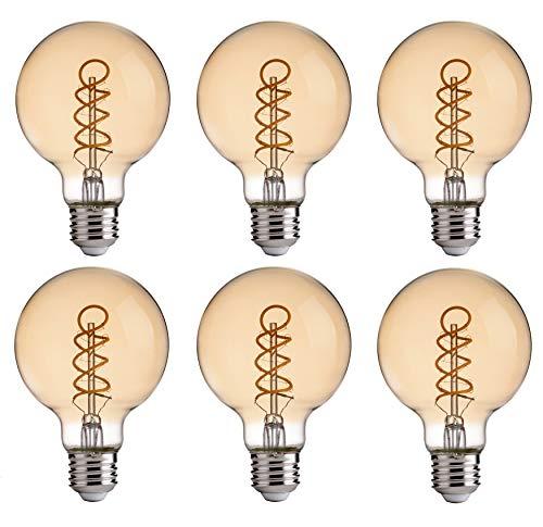 FLSNT Vintage Globe LED Edison Bulbs,G25 Dimmable Flexible Spiral Filament,4.5W (40W Equivalent),2200K Warm White,E26 Base,350LM,CRI80,Amber,6 Pack