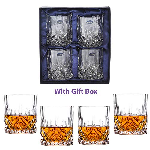 Whisky Old Fashioned - Amlong Crystal Lead Free Double Old Fashioned Crystal Whiskey Glass - Classic Stylish Design - Perfect for Scotch, Bourbon, Cognac and Cocktail Glasses, 9 Ounce, Set of 4 With Gift Box