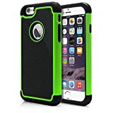 iPhone 6 Case, MagicMobile® Rugged Dual Durable Armor Case for iPhone 6 Impact Resistant Shockproof Double Layer Hard Shell Case with Soft Flexible Black Silicone Skin Cover [ Color: Green ] (Compatible Only with iPhone 6 [4.7])