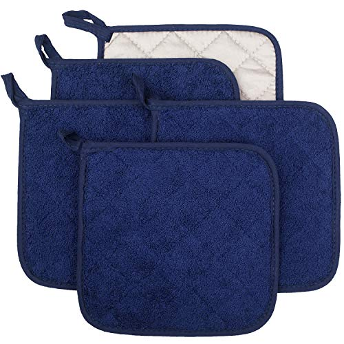 Lifaith 100% Cotton Kitchen Everyday Basic Terry Pot Holder Heat Resistant Coaster Potholder for Cooking and Baking Set of 5 Dark Blue ()