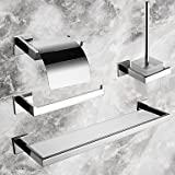 4-Piece Bath Collection Set,Contemporary Mirror Polished Finish Stainless Steel Material,Bathroom Accessory Sets , Silver
