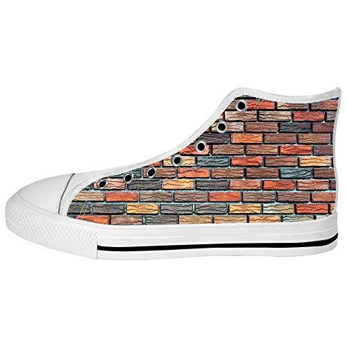 La Texture De Mur De Brique Faite Sur Commande Mens Toile Chaussures Lacets De Chaussure Hauts Sur Des Espadrilles Chaussures De Toile.