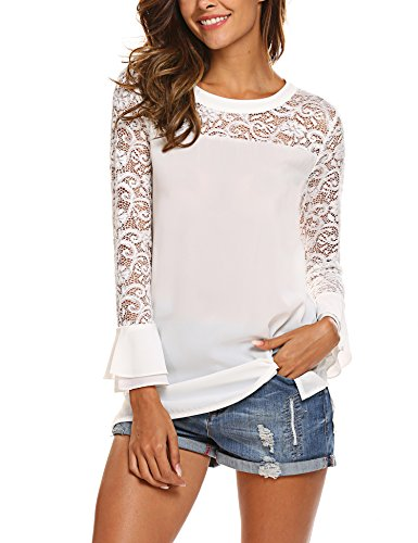 SoTeer Women's Crochet Lace Trim Long Sleeve Chiffon Boho Bohemian Loose Elegant Blouse Top Shirt White ()