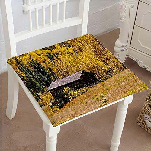 Mikihome Dining Chair Pad Cushion with Shedding Faded Leaf Autumn Fall Tree Meadow Provincial Picture Yellow Brown Fashions Indoor/Outdoor Bistro Chair Cushion 24''x24''x2pcs by Mikihome (Image #7)