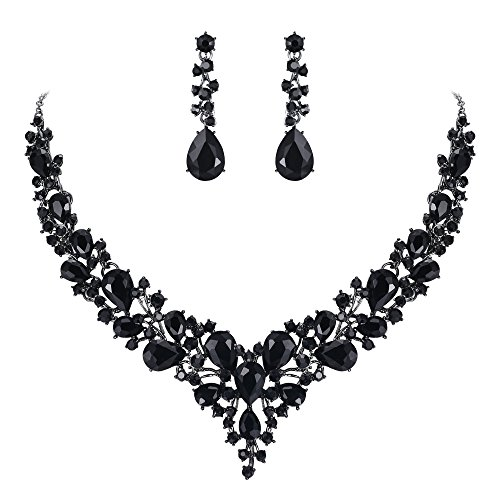 BriLove Wedding Bridal Necklace Earrings Jewelry Set for Women Austrian Crystal Teardrop Cluster Statement Necklace Dangle Earrings Set Black Black-Silver-Tone ()
