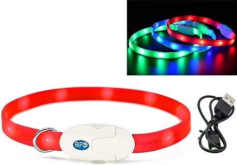 BPS Collar Luminoso Recargable USB para Mascotas Perros Gatos ...
