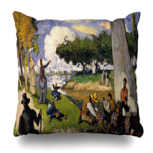 AlliuCoo Throw Pillow Covers Green Blue Fishermen by Paul Cezanne French 15 20 Figures Orange 19Th Century Black Bright Children Home Decor Zippered Cushion Case Square Size 16
