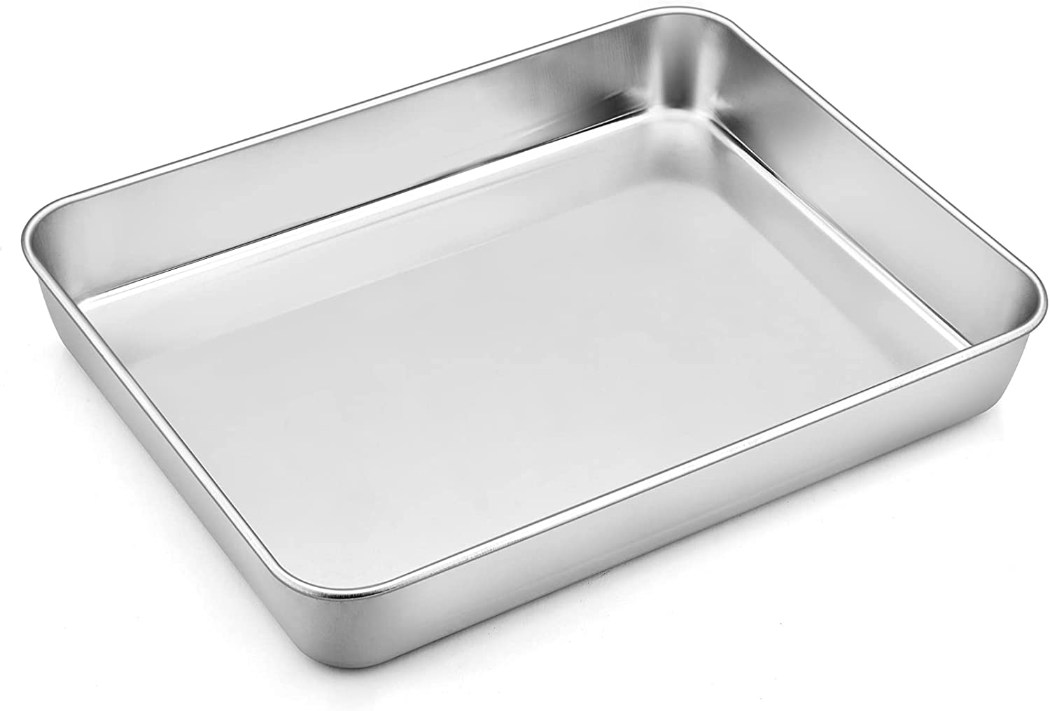 """Small Stainless Steel Baking Pan, P&P CHEF Toaster Oven Lasagna Pan, Rectangle 10.4""""x8""""x1.85"""", Heavy Duty & Dishwasher Safe"""