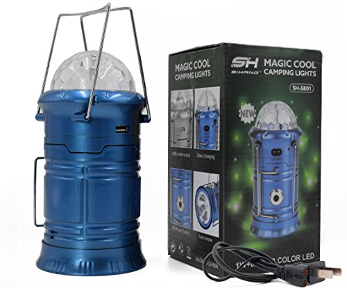 1 Light Outdoor Lantern (Haoerliang 3 in 1 LED Rechargeable Party Disco Light ,Camping Lantern and Emergency Hand-held Flashlight with USB Port Available,Suitable for hiking, camping, fishing, hurricanes (Blue))