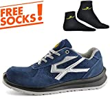 SAFETOE Lightweight Safety Trainers - 7328 Breathable Leather Safety Shoes with Composite Steel Toe Cap, Comfort Non Metal Wide Fit Work Trainers Boots for Man & Women Size