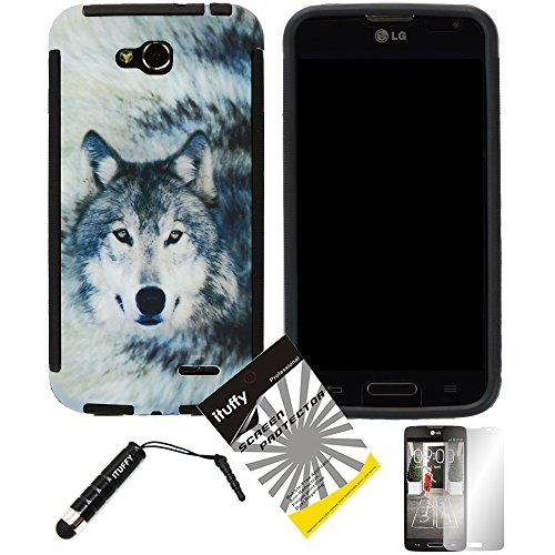 (3 items Combo: ITUFFY (TM) LCD Screen Protector Film + Mini Stylus Pen + Design Wrap-Up Cover Faceplate Skin Phone Case for LG Optimus L70 (MetroPCS) MS323 / Optimus Exceed II (Verizon) VS450 / Dual D325 D320N / LG Realm (Boost Mobile) LS620 (Wolf - Black))