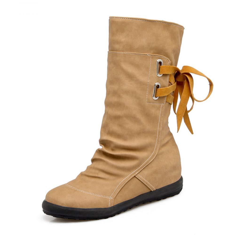 PINGXIANNV Bottes Hiver Femme Chaussures Chaudes Bowtie pour De Les Femmes La Moitié De pour Courtes Bottes Mode Chaussures pour Femmes 5 Yellow 55d279