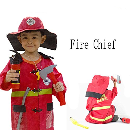Little Girl Halloween Costume Ideas 2016 (Bluestar Cool Kids Fire Chief Role Play Costume Set and Accessories for Boys and Girls)