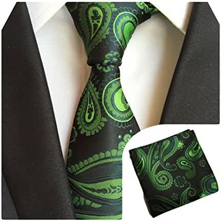 MENDENG Men Black Green Paisley Silk Necktie Ties Handkerchief 2 Pieces Tie Sets