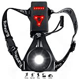 Zenoplige Running Light Lamp, Upgraded USB Rechargeable LED Chest Light Safety Wearable Waterproof Backlight Flashlight with 3 Modes for Runners, Joggers, Walking, Hiking, Camping, Fishing (Black)