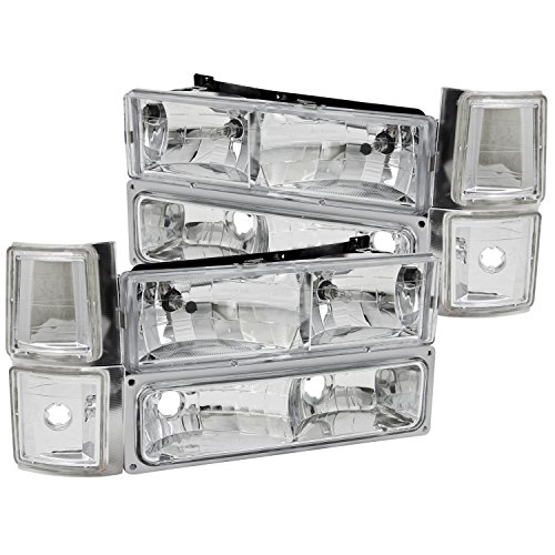 K3500 Crystal - Anzo USA 111099 Chevrolet Crystal Clear with Signal/Side Marker Lights Headlight Assembly - (Sold in Pairs)