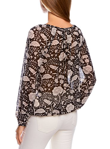 oodji Collection Mujer Blusa Estampada con Lazos Negro (2933F)