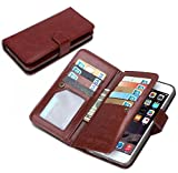 Dreams Mall(TM)New Hot 2 in 1 Premium PU Leather Wallet Purse Case Protection for Apple iphone 6 Plus 5.5 inch with Flip Cover & Strap-Brown
