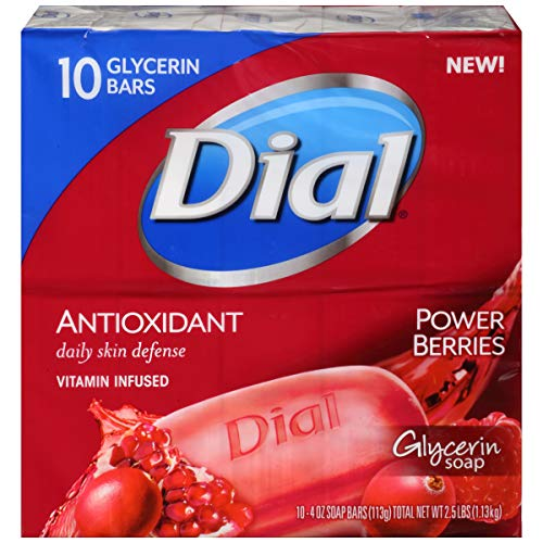 Dial Glycerin Bar Soap, Power Berries, 4 Ounce Bars, 10 Count
