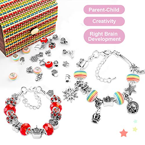 WinWonder Charm Bracelet Making Kit, 55pcs DIY Bracelet Making Kit with 3 Silver Plated Snake Chains Charm DIY Jewelry Making Kit with 1 Box for Craft Gift for Girls Teens