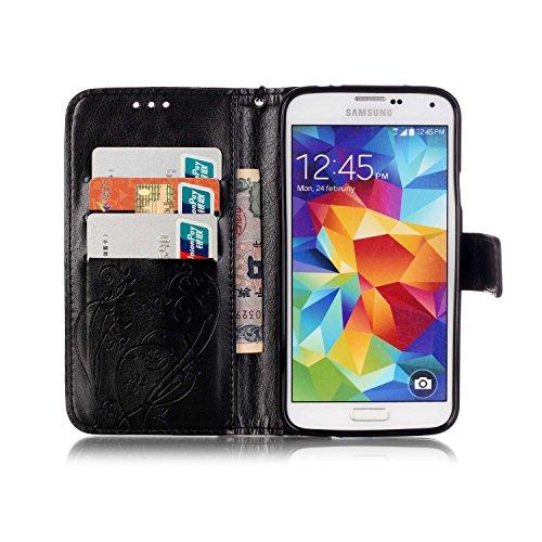 JIALUN-Personality teléfono shell Samsung S5 MINI caja de flores en relieve, cierre magnético PU sintética cubierta de la caja con cuerda colgante y función de la cartera para Samsung S5 MINI Segurida Black