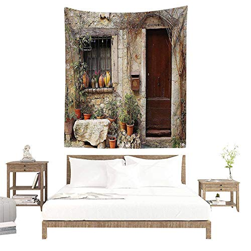 alisoso Wall Decor Room Tapestry,Shutters Decor Collection,Flowerpot Plants in Front Yard French Hilltop Village Saint Paul De Vence Heritage W57 x L74 inch Printed Nature Wall Tapestry -
