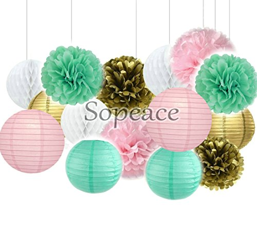 Sopeace Pack of 15 8/10inch Tissue Paper Pom Pom Flowers and Paper Lanterns Wedding Birthday Party Decoration,Pink Mint Green Gold Color