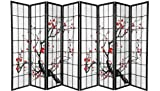 8 panel shoji divider - Black 4 Panel Plum Blossom Screen Room Divider (8 Panel)