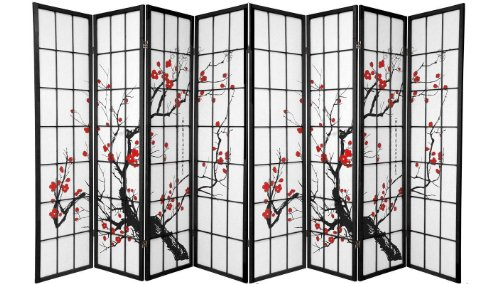 Black 4 Panel Plum Blossom Screen Room Divider (8 - Screen Black Panel