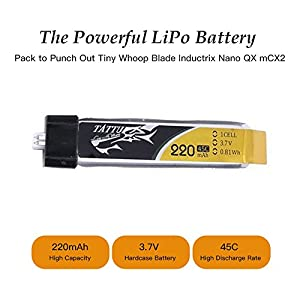 Tattu 5pcs 3.7V 220mAh LiPo Battery Pack 45C 1S with Ultra Micro for Blade Inductrix Tiny Whoop FPV Nano QX Nano CPX Nano CPS in the E-flite Micro Planes