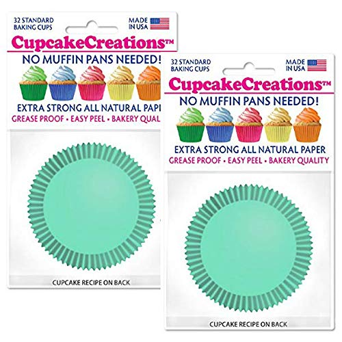 Cupcake Creations Greaseproof Baking Liners for Cupcakes, Muffins, and Snacks - Extra Strong, Bakery Quality, Standard Size - 64 Count (Mint) by Cupcake Creations