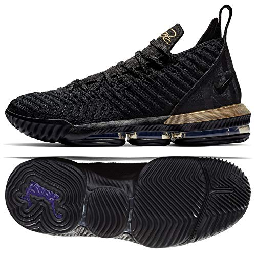 cd579c1dd3a2 Nike Mens Lebron 16 Basketball Shoes (Black Metallic Gold
