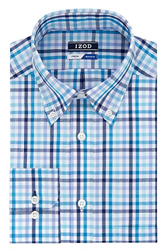 Multi Check Shirt - IZOD Men's Regular Fit Multi Check Buttondown Collar Dress Shirt, Lagoon, 16