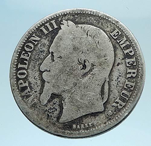 - 1866 FR 1866 FRANCE Emperor NAPOLEON III Genuine AR Coin coin Good Uncertified