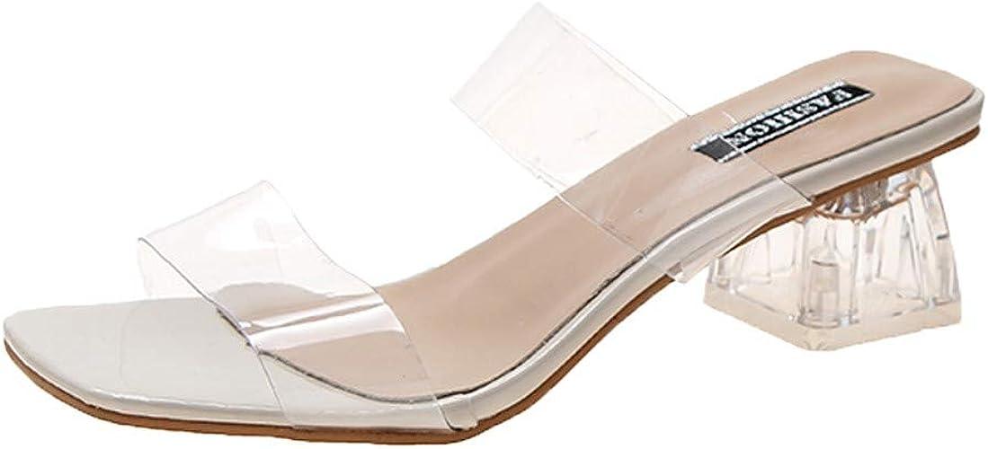 TEELONG Women Mid High Slip On Open Toe